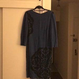 Blue with black print dress